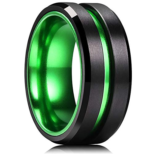 King Will Duo 8mm Mens Green Plated Black Tungsten Carbide Wedding Ring Grooved Center Matte Finish(9.5)