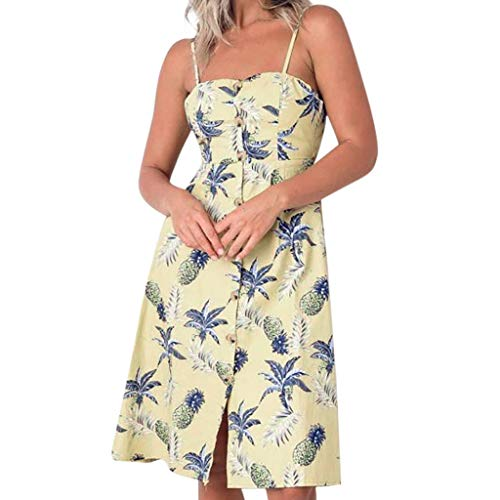 Amober Women's Dress Spring and Summer Fashion Casual Printing Bohemian Female Dress Yellow