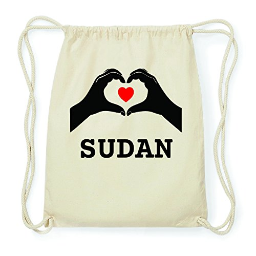JOllify SUDAN Hipster Turnbeutel Tasche Rucksack aus Baumwolle - Farbe: natur Design: Hände Herz