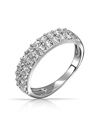 Bling Jewelry Pave CZ Double Row Half Eternity Band Ring Sterling Silver