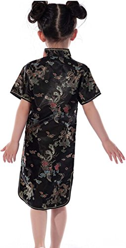[True Meaning Pretty Dragon Chinese Cheongsam Dresses Mini Dresses for Girls Black4T] (Princess Zelda Costume Cheap)
