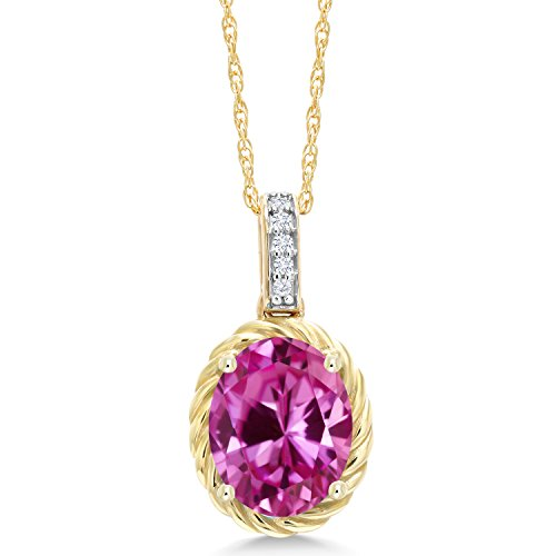 Gem Stone King 2.44 Ct Oval Pink Created Sapphire White Diamond 10K Yellow Gold Pendant ()