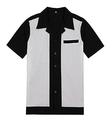 Vintage Look Button - Candow Look Mens Rockabilly Vintage Button Shirts Hip Hop Western Cowboy Style