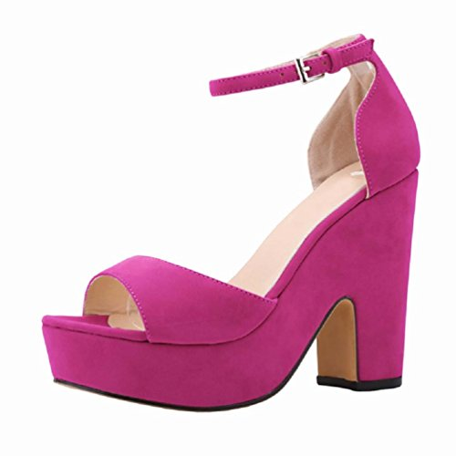 HooH Women's Flannel D-orsay Ankle Strap Wedding Chunky Sdandal Rose Red 3m1Si