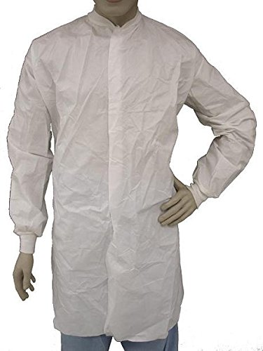 Epic 846855-L Microporous Coated Cleanroom Frock, L, Capacity, Volume, Polyethylene/Polypropylene Blend, Large, White (Pack of 30)