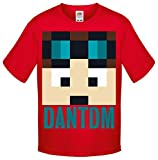 One Stop Kids Dan TDM Or Stampy Cat Short Sleeve T-Shirt Boys Girls Unisex Top (9-11 Years, Dan TDM Pink)