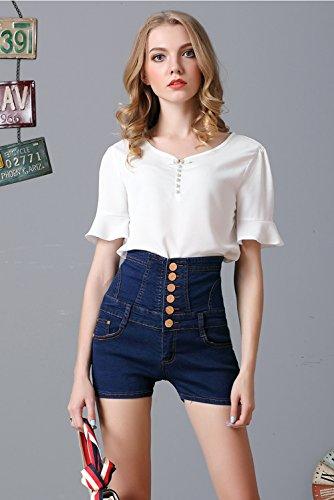 Corto Alta donna Navy Hot 2018 Pantaloni Pants Jean Estivo Denim Pants Moda Vita Jeans Donna Blu Shorts Sexy Vintage Pantaloncini donna Shorts CtFTqw4