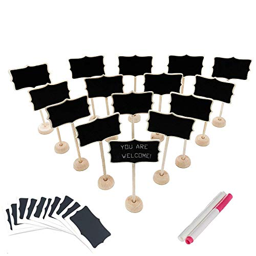 15 pack Wood Mini Chalkboard Signs (water-based chalk and replacement stickers are included) Small Rectangle Chalkboards Blackboard for Weddings, Message Board Signs and Special Event Decorations]()