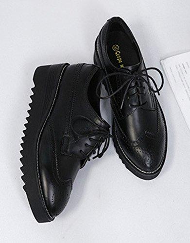 Talon Aisun Mode Femme Noir Compens Brogues wSqRT6C