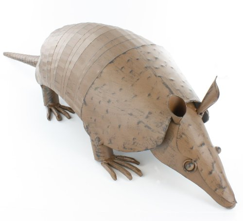 Large Springy Metal Armadillo Yard Art / Sculpture - Decorative Rustic Western