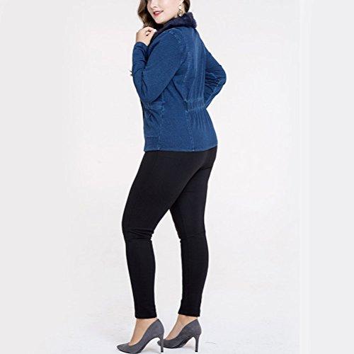 for Outerwear Ladies Down quality Cómodo Button Womens Fabrics Denim High Blue Coat Plus Zhhlinyuan Size Pp1q1w