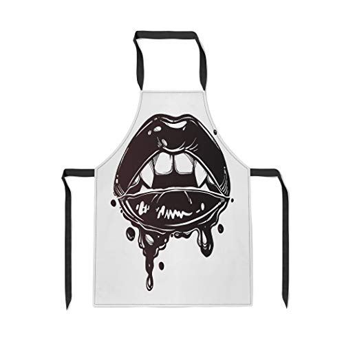 Pinbeam Apron Sexy Female Vampire Lips Fangs and Dripping Blood with Adjustable Neck for Cooking Baking -
