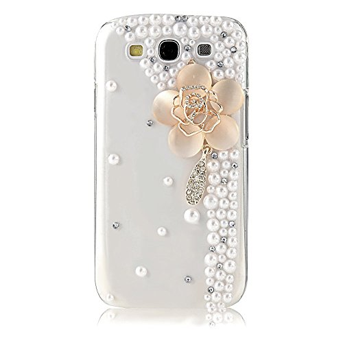 Samsung Galaxy J7 (2015) Case, STENES [Luxurious Series] 3D Handmade Shiny Crystal Bling Cover Case with Retro Bowknot Anti Dust Plug – Big Flowers Pe…