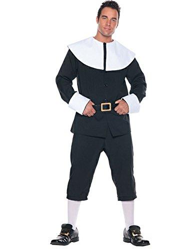 Underwraps Men's Pilgrim Costume, Black/White, One