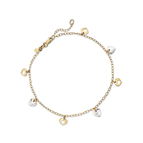 Ross-Simons Italian 14kt Two-Tone Gold Heart Anklet ()