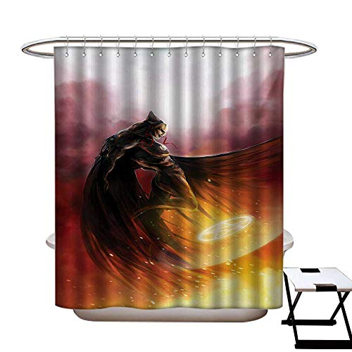 BlountDecor Fantasy World Shower Curtains Digital Printing Superhero in His Original Costume Flying Up Magic Flame Save The World Theme Satin Fabric Bathroom Washable W72 x L72 Yellow -