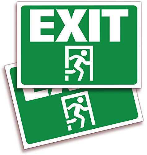 Green Letters Exit Sign - Exit Signs Stickers - 2 Pack 10x7 Inch - Premium Self-Adhesive Vinyl, Laminated for Ultimate UV, Weather, Scratch, Water and Fade Resistance, Indoor and Outdoor