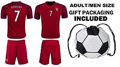 Fan Kitbag Ronaldo #7 Portugal Home Men's Soccer Jersey & Shorts Adult Premium Gift Kitbag ? BONUS GIFT Soccer Backpack