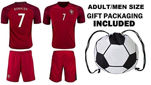 - Fan Kitbag Ronaldo #7 Portugal Home Youth Soccer Jersey & Shorts Kids Premium Gift Kitbag ✮ BONUS GIFT Soccer Backpack (Large, Home Short Sleeve)