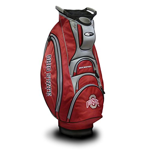 (Team Golf NCAA Ohio State Buckeyes Victory Golf Cart Bag, 10-way Top with Integrated Dual Handle & External Putter Well, Cooler Pocket, Padded Strap, Umbrella Holder & Removable Rain Hood)