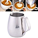 10oz/300ml Milk Frothing Pitcher Coffee Latte Thicken Stainless Steel Milk Cup Drum-shape Polished Jug Steaming Milk Cup For Sale