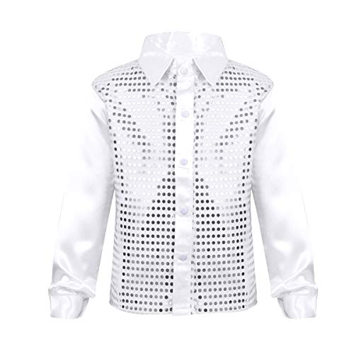 FEESHOW Kids Big Boys Shiny Sequined Shirt Vest Waistcoat Jacket for Wedding Prom Dance Performance Costume White 10-12 ()