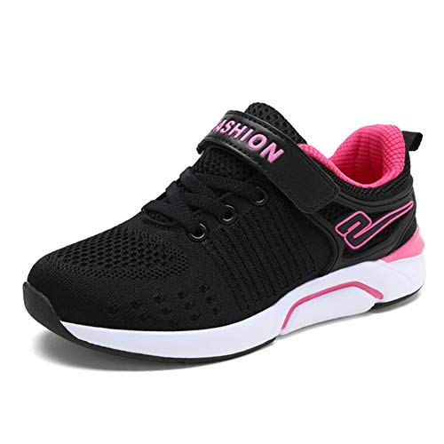 FLORENCE IISA Kids Athletic Running Shoes Knit Breathable Lightweight Walking Tennis Sneakers for Boys Girls (29, Black)