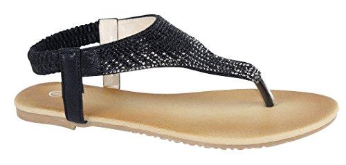 Cambridge Select Mujeres T-strap Ombre Crystal Rhinestone Thong Slip-on Sandalia Plana Negro