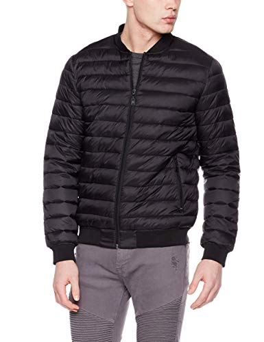 Royal Matrix Men's Packable Lightweight Puffer Jacket with Rib Cuff and Collar (Black, Large)