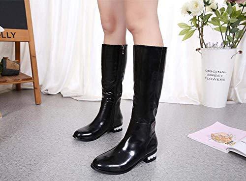 Toe Dimensioni Basso Eu 35 Dress Pearl Casual Stivali Colore Di Tacco Polpaccio Rotondo Black Donne Tacco Puro Stivali 40 Deco Cavaliere Stivali Mid Scarpe nzRzxH0