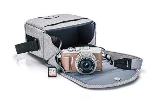 - Olympus PEN E-PL9 Kit with 14-42mm EZ Lens, Camera Bag, and Memory Card (Honey Brown)