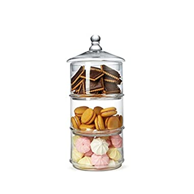 Lidded 3 Tier Stackable Clear Glass Candy Dishes / Cookie Holders / Apothecary Jars