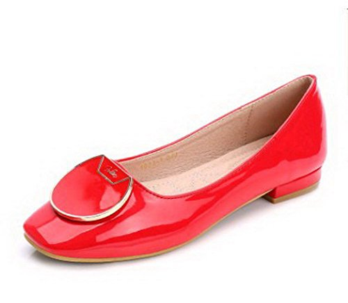 AalarDom Womens Solid Artificial Sheepskin Square-Toe Flats-Shoes with Metal Red HbLbSX