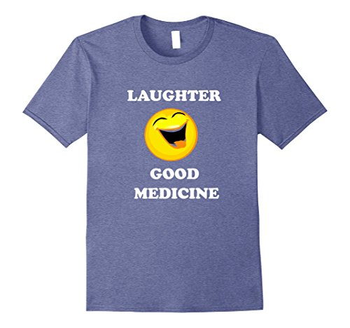 Mens Laughter Good Medicine a fun T shirt for all ages Large Heather Blue