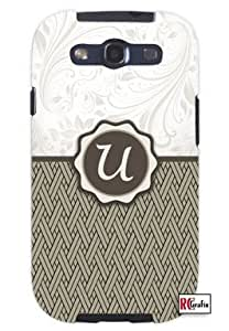 Monogram Initial Letter U Unique Quality Soft Rubber TPU Case for Samsung Galaxy S3 SIII i9300 - White Case