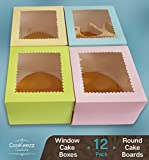 CooKeezz Couture - Cake Box - Colored Window Bakery Packaging Decorated Boxes Great for Donuts, Bakery, Pies - Assorted 12 Pack Decorated Boxes in 4 Pastel Colors, Included 12 Round Cake Boards