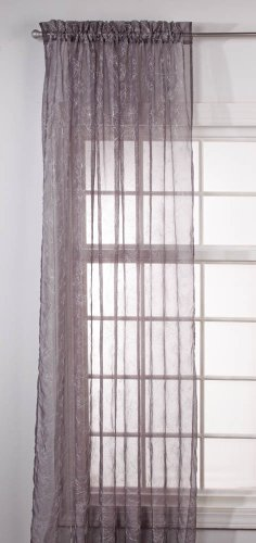 Stylemaster Renaissance Home Fashion Reese Embroidered Sheer Rod Pocket Panel, 55-Inch by 63-Inch, Charcoal