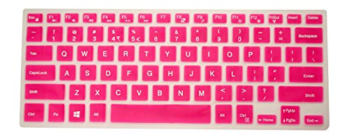PcProfessional Hot Pink Ultra Thin Silicone Gel Keyboard Cover for Dell Inspiron 14 5000 Series 14