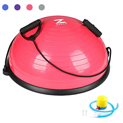 ZELUS Balance Ball Trainer Half Yoga Exercise Ball with Resistance Bands and Foot Pump for Yoga Fitness Home Gym Workout (Pink)