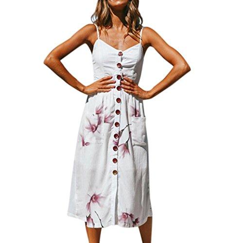 ❤️ Vestido Boho Verano Mujer, Casual largo Maxi fiesta de noche Cocktail Beach vestido Sundress Sling botón falda ABsolute Blanco