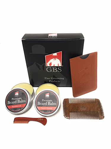 GBS Mens Beard Balm & Comb Gift Set – Beard Balm Combo – Sweet Orange + Sandalwood Conditioning Balm & Beard Mustache Comb Combo – Multi Side Natural Wood Beard Comb + Anti Static Travel Mustache Comb