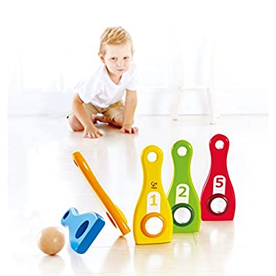 Hape Rainbow Bowl Game Kid's Indoor Wooden Bowling Set: Toys & Games