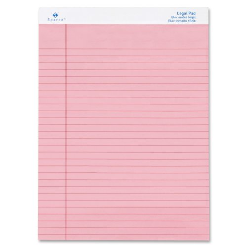 S.P. Richards Company Colored Pads, Legal Rule, 50 Sheets, 8-1/2 x 11-3/4 Inches,Pack of 12, Pink (SPR01076) by Sparco