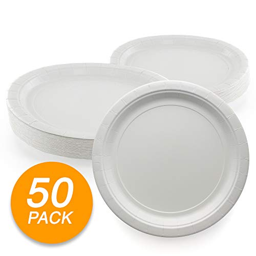 Amcrate White Disposable Paper Party Plates 9