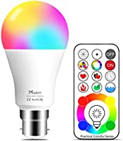 Mobri B22 LED Colour Changing Light Bulbs with Remote Control, 75 Watt Equivalent Bayonet Dimmable Colour Bulbs with...