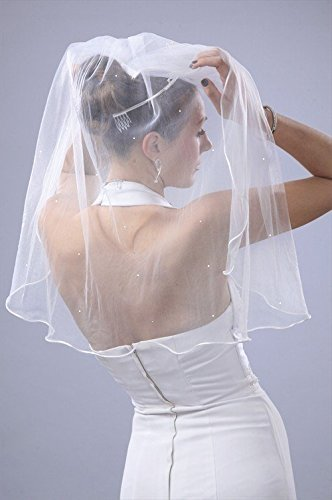 Wedding Veil Bridal Bride Rhinestone 24 inch 1 Tier Shoulder Ivory Rattail Edge by Velvet (Veil Rat Tail)