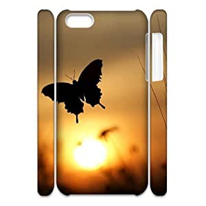 Butterfly in Glowing Sunset Custom 3D Case for Iphone 5C, 3D Personalized Butterfly in Glowing Sunset Case