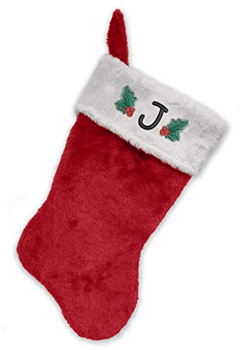 Monogrammed Me Embroidered Initial Christmas Stocking, Red and White Plush, Initial J