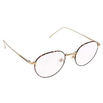 Baoblaze Retro Runde Brille Mit Fensterglas Damen Herren Brillenfassung -  Golden 08cc5c5513