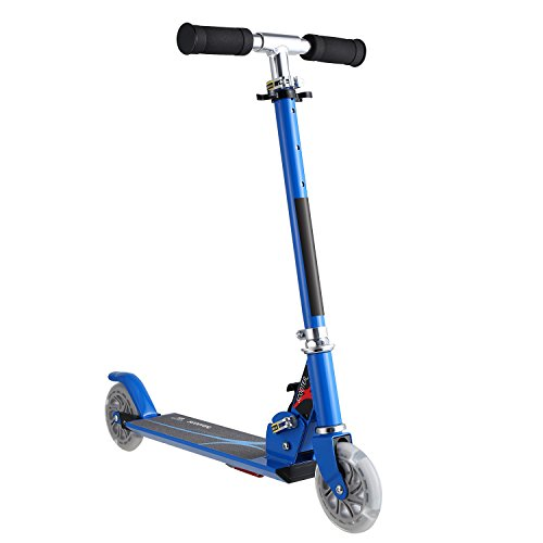 Yiilove Aluminum Scooter Foldable Kick Scooter 2 Wheel Adjustable Height Mini Kick Scooter with LED Light Up Wheels for Boys and Girls
